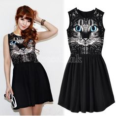 European Style Women's Blue Eyes Cat Print Sleeveless Cotton Vest Dress