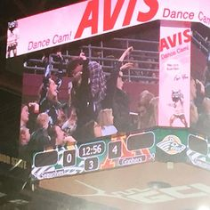 Erica and her friends made it on the Jumbotron...