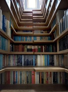 Bookshelves that double as stairs - this should be your future library @kaitlyn forst