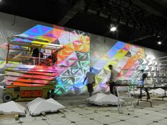 Projection wall for Y-3's 2013 Spring/Summer Fashion Show.  Design by Dev Harlan.  Fabrication of Wall by Situ Fabrication