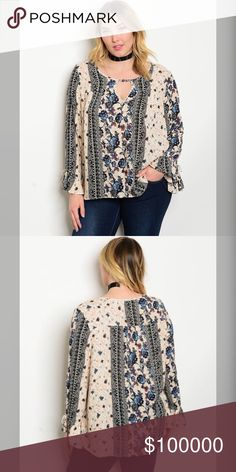 Plus size Stunning keyhole top bell sleeve blouse! Beautiful colors of pale peach and blue in a boho print with keyhole top and bell sleeves Tops