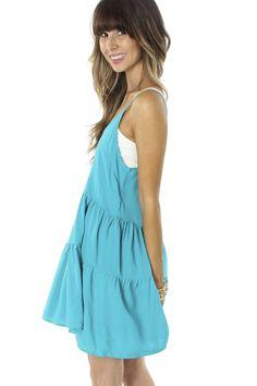 Slip Dress Teal $19.9 #sophieandtrey #dresses #tankdress #ruffles #tier #openback