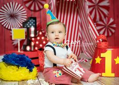 Cake smash | boy | circus | the big top | first birthday | theme | ideas | party | messy | red | fun | nj photographer
