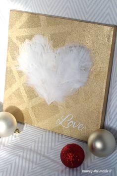 """Love"" feathered heart DIY canvas - Mod Podge Rocks"