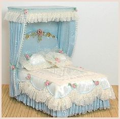 "Dressed by Rosemarie Torre.  Gorgeous bed......... fit for a princess!  from Scale Designs (.com) - all 1/2"" miniatures."