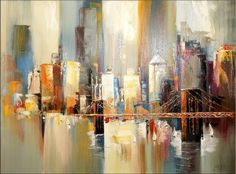 Amazon.de: Modernes Stadtbild - Acryl-Gemälde - Brooklyn Bridge in New York - Martin Klein - signiert