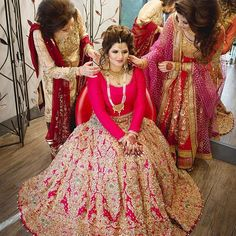 Ali Xeeshan lengha My beautiful mom & my gorgeous sister getting me ready for my big day. ❤️ Hair & Make Up: 長蓁 吳 Clothes: Photography: Moms Clothes: Sisters Clothes: Wedding Lehnga, Pakistani Wedding Dresses, Desi Wedding, Bridal Lehenga, Wedding Suits, Indian Dresses, Indian Outfits, Sister Wedding, Wedding Bride