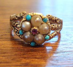 "Mid-19th Century, Civil War Era, 18 karat Gold ""Locket Ring"", or Poison Ring, Turquoise and Pearl with Amethyst set in the Ring: 
