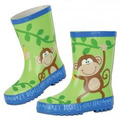 Stephen Joseph Kids Monkey Rainboots Just $17!
