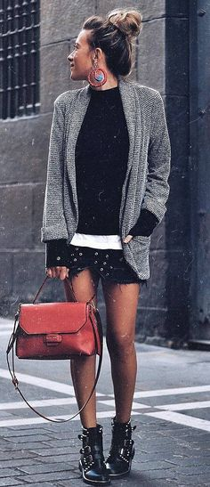 what to wear with a blazer : sweater + skirt + red bag + boots