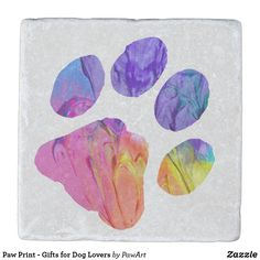 Paw Print - Gifts for Dog Lovers Stone Coaster - dog puppy dogs doggy pup hound love pet best friend Paw Print Crafts, Paw Print Art, Dog Lover Gifts, Dog Gifts, Dog Lovers, Stone Coasters, Love Pet, Cool Pets, Dog Paws