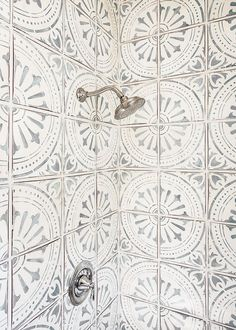 Shower tiles I think from Tabarka. Not sure if they still carry it. Renovation Plan, Douche Design, Shower Tile Designs, Shower Tiles, Bath Shower, Shower Tile Patterns, Kitchen Floor Tile Patterns, Tiled Showers, Shower Base