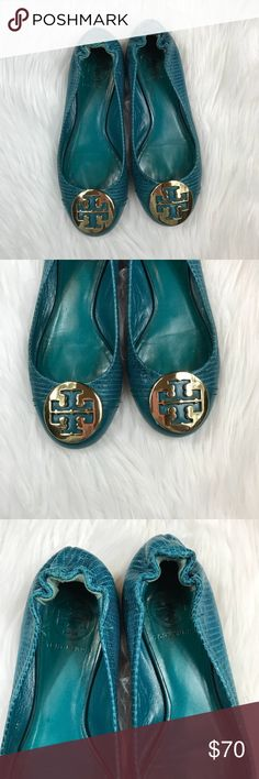 Tory Burch turquoise leather flats Size 5.5 in good used condition! No major flaws, but does show signs of wear. Super cute color for the spring! ***NO modeling or trades! Tory Burch Shoes Flats & Loafers