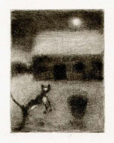 Bohuslav Reynek Kočka na dvoře / Cat on the Court suchá jehla / dry point 11,6 x 8,9 cm, 1953, otisk z původní desky, opus G 326