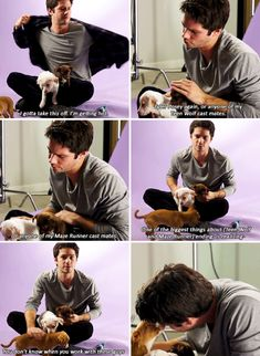 """Dylan O´Brien and puppies - """"If you could costar in a future project with any actor, who would it be and why?"""""""