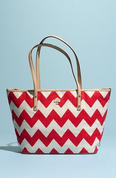 Fun! kate spade new york red chevron tote