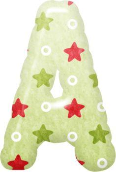 Alfabeto con Estrellas Verdes y Rojas.