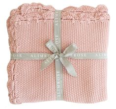 Beautiful soft knit blanket 100cm x 100cm in soft 100% organic cotton mini moss stitch....