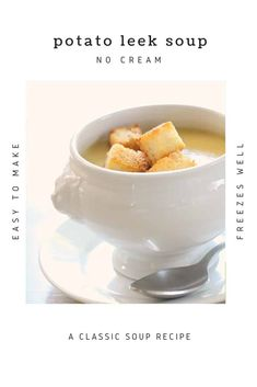 A Potato Leek Soup (no cream). This decadent soup gets its creaminess from cauliflower. Includes a step-by-step recipe video too. Healthy Soup Recipes, Healthy Meals, Vegan Recipes, Classic Soup Recipe, Vegan Potato Leek Soup, Frozen Potatoes, How To Make Potatoes, Cream Of Broccoli Soup, Pureed Soup