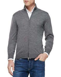 Fine-Gauge Full-Zip Sweater, Gray  by Brunello Cucinelli at Neiman Marcus. 48