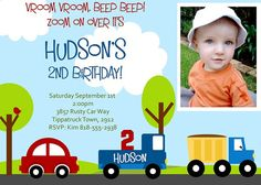 LITTLE CARS and TRUCKS Birthday Invitation by littlebirdieprints, etsy - maybe alter so just has blue truck and bigger picture?