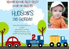 Little Cars and Trucks Printable Invitation