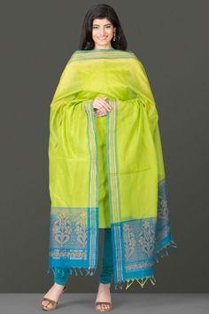 Pure Kora Silk Unstitched suits with Zari