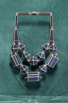 Noon Passama Necklace: Untitled (silhouette ethnic jewelry), 2010. Colour coated metal and leather.