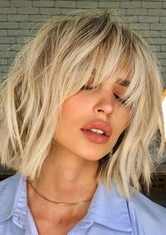 Latest Hairstyles and Haircuts for Women in 2020 — The Right Hairstyles Lob Haircut With Bangs, Blonde Bob With Bangs, Fringe Haircut, Curly Hair With Bangs, Hairstyles With Bangs, Latest Hairstyles, Long Bangs, Pixie Cut With Bangs, Wispy Bangs