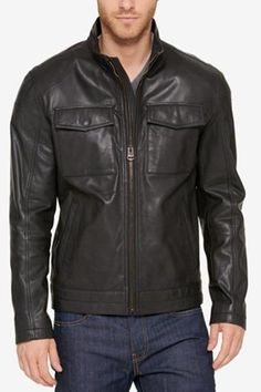 New Men Black Biker ...