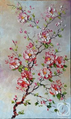 What is Your Painting Style? How do you find your own painting style? What is your painting style? Sakura Painting, Cherry Blossom Painting, Palette Knife Painting, Painting Techniques, Painting Inspiration, Acrylic Paintings, Acrylic Art, Flower Art, Watercolor Paintings