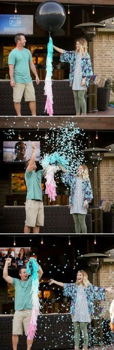 What a fun gender reveal idea! Giant black balloon with either blue or pink confetti depending on if it's a boy or girl! It gives you such cute pictures too! I want to do this for our gender reveal party! #ad #genderreveal #genderrevealparty #genderrevealideas