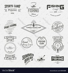 Fishing badges logos and labels for any use on a white background. Download a Free Preview or High Quality Adobe Illustrator Ai, EPS, PDF and High Resolution JPEG versions.