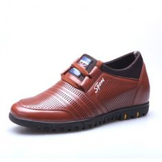breathable hollow men's height increasing shoes Korean casual elevator shoes get taller 6cm / 2.35inches