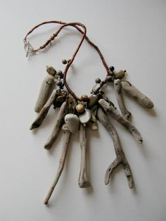 driftwood sticks and beach pebble necklace