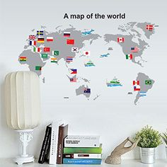 ORDERIN Cyber Monday Wall Decal a Map of the World with Flag Removable Mural Wall Stickers for Living Room Office Wall Decor ** Click on the image for additional details.