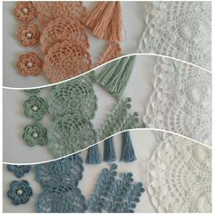 Crochet kit:flowers,doilies,branches,tassels