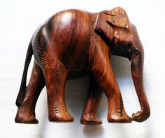 vintage wooden carved Asian elephant sculpture statue handmade handcraft 1970s