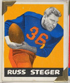 Leaf Gum, Co., Chicago, IL. Russ Steger, from the All-Star Football series (R401-2), issued by Leaf Gum Company, 1948. The Metropolitan Museum of Art, New York. The Jefferson R. Burdick Collection, Gift of Jefferson R. Burdick (Burdick 326, R401-2.60) #MetGridironGreats