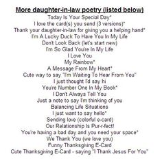 Mother Day Poems From Daughter In Law - HONEY