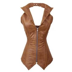 Stylish Halter Sleeveless Zippered Slimming Lace-Up Women's Corset