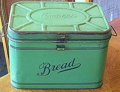 I want my kitchen floor cabinets to be THIS color! :) 1940's Green Empeco Tin Metal Bread Box Farm Cottage