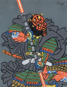"fanwright: ""tiefighters: "" Ukiyo-e Stylized Darth Maul Created by Takao Nakagawa "" @clarielparke - Ukiyo-e Maul. """