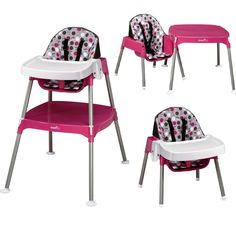 3 in 1 Baby High Chair Convertible Table Seat Booster Toddler Feeding Highchair #Evenflo #Contemporary