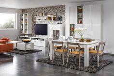 Decodom apartmán: * Obývačka [Living room] - NORDIC komb. 09 * Jedáleň [Dining room] - seria ROUTE  * Konf. stolík [Coffe table] - BELO * Jedál. stôl [Dining table] - NORDIC JS  * Stoličky [Chairs] - POLO Polo, Kitchen, Table, Furniture, Home Decor, Polos, Cooking, Decoration Home, Room Decor