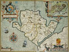 John Speed, tailor & tailor\'s son, produced ambitious history & atlas of Britain under patron Elizabeth I, before 1603. Maps notable for accuracy; town plans included on county maps. Popular from publication 1610-11; often republished for century. Anglesey map includes a town plan of Beaumaris.