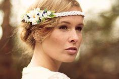 Hochzeit Blumenkranz weiß blau von Manousche auf Etsy