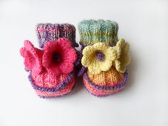 Hand Knitted Baby Booties with Crochet Bell