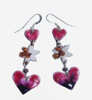 Handmade copper and enamel heart and star drop earrings with silver wires.