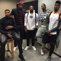 Tristin Thompson, LeBron James, Kyrie Irving, J. Smith and Iman Schumpert of the Cleveland Cavaliers. King Lebron, Lebron James, Nba Fashion, Sport Fashion, Nba Kings, Iman Shumpert, Air Max 2009, Cleveland Cavs, Cleveland Rocks